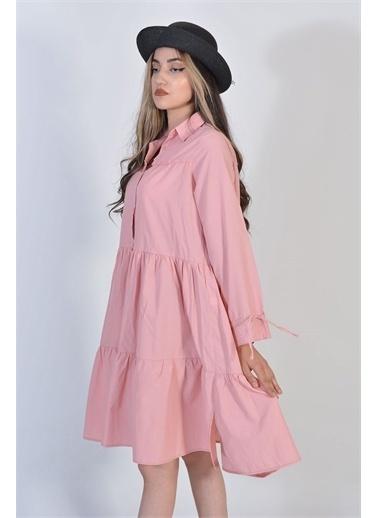 Zeren Kadın Pudra Koldan İpli Piliseli Elbise Somon